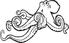 vintage cuttlefish clipart, octopus clip art, black and