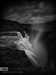 Hvita Abyss - Pinned by Mak Khalaf The iconic 'Gullfoss' waterfall on the River Hvítá  Iceland. 30 second single exposure. Black and White black and whiteguy havellicelandlandscapeslong exposuremonochromemountainsrivertravelwaterwaterfallwaterfalls by Guy_Havell