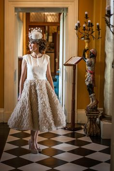 """""""Aisling"""" dress, cream crepe bodice with a beige fur fringe full skirt. Fringe Hairstyles, Hairstyles With Bangs, Bodice, Fur, Cream, Hair Styles, Skirts, Collection, Dresses"""