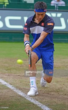 Kei Nishikori of Japan warms up prior to his match against Jerzy Janowicz of Poland during day five of the Gerry Weber Open at Gerry Weber Stadium on June 19, 2015 in Halle, Germany.