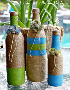 COLORFUL ACCENT PIECES- Splash your bookshelves, coffee table, and outdoor space with these painted twine bottles.