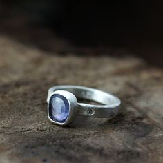 Andrea Bonelli rose cut blue sapphire and moissanite ring - one of a kind