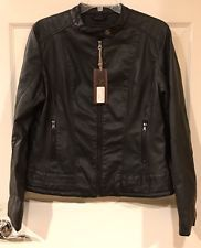 Large Moto Jacket Faux Leather Black Zip-up Snap Collar Career Casual Pocket
