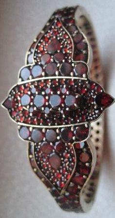 Bohemian Garnet Flower Crescent Moon Gilt Gilded Bracelet
