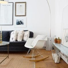Per Jansson - living rooms - tall ceilings, white walls, white wall color, hardwood floors, parquet floors, light hardwood floors, gray sofa, gray velvet sofa, gray velvet rolled arm sofa,