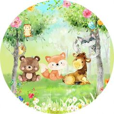 Photo Frame Wallpaper, Framed Wallpaper, Party Cartoon, Bear Cartoon, Forest Animals, Woodland Animals, Baby Animal Drawings, Edible Printing, Magic Party