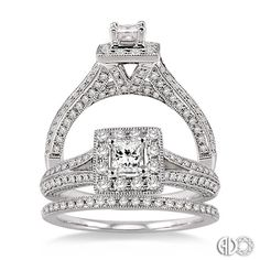14K White Gold Vintage Wedding Set.    http://www.thediamondstore.com/products/engagement-rings/14k-white-gold-vintage-wedding-set-%7C-ash23561/6-687
