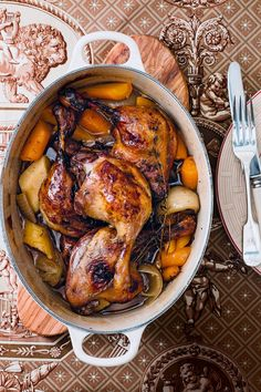 Duck legs with root vegetables, beer and honey is part of Duck Legs With Root Vegetables Beer And Honey Recipe - A rich, onepan dinner for 6 Roasted Duck Legs Recipe, Roasted Duck Recipes, Honey Recipes, Meat Recipes, Dinner Recipes, Cooking Recipes, Slow Cooker Duck Recipes, Holiday Recipes, Cooking Tips