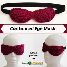 Contoured Eye Mask - free crochet pattern by Pia Thadani at Stitches 'n' Scraps.  Spa Basket CAL no.5