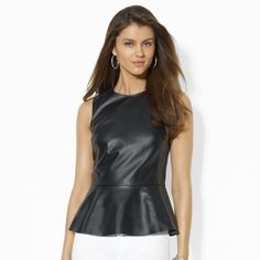 Ralph Lauren Leather Peplum Top on shopstyle.com