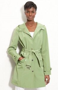 If you like the look of a traditional trench but want to liven things up a bit, then go for this London Fog Hooded Trench Coat in soft green.