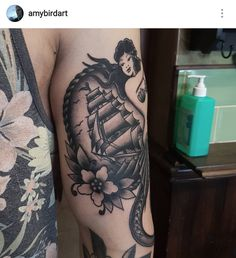Black and grey tradtitional Sailor Jerry mermaid and ship tattoo by Amy Williams Tattoo @amybirdart
