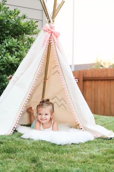 This is probably one of my most favorite things I've made my girl so far.  After searching (and searching) for the perfect teepee to get Pres for her 2nd Birthday I decided to just give makin…