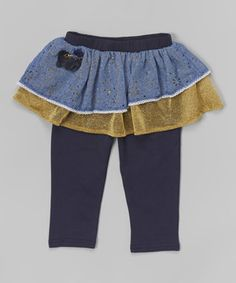 Look at this #zulilyfind! Blue & Gold Tiered Skirted Leggings - Infant, Toddler & Girls by Richie House #zulilyfinds