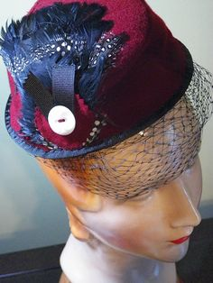 Burgundy Wool Slouched MiniFez Fascinator by BaublesAndWhatnots, SOLD