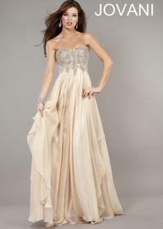 Classy Strapless Nude Evening Gown - Nude Beaded Prom Dress - Jovani 1560 - ThePromDresses.com