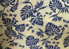 50bird monstera Tropical Botanical Vintage Hawaiian Barkcloth Fabric -  leafy reversible cotton apparel fabric with monstera leaves and birds of paradise flowers.