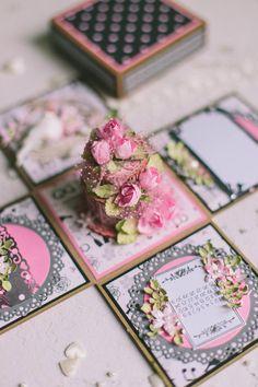 Karte Hochzeit Fotoschachtel Exploding Box mit Kuchen