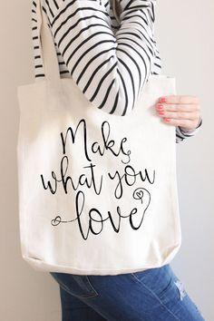 Tote bag with Quote // Cotton Tote Bag van AUdesignsStudio op Etsy