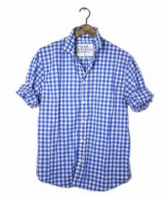 PAUL at Frank & Eileen in ROYAL BLUE LARGE GINGHAM