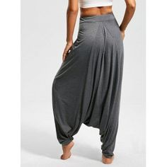 Drop Bottom Harem Pants with Drawstring - S S