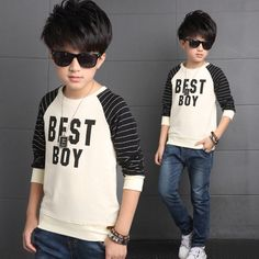 Kids Clothes Boys T-Shirt 2016 Autumn Fashion Korean Striped Letter Casual Tees Shirts for Boys Children Clothing Teens Tops