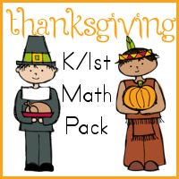 Free Thanksgiving Kinder/1st math Pack
