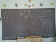 Spring Chalkboard Song of Soloman 2:11-12 with Cherry Blossoms.