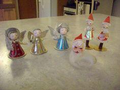 6 Vintage Christmas Ornaments Spun Cotton Christmas Angel Japan Elves Santa   eBay