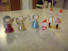 6 Vintage Christmas Ornaments Spun Cotton Christmas Angel Japan Elves Santa | eBay