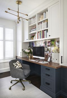 love this dark desk color, the wood tone top, built ins and that mod light fixture // design by Vanessa Francis Design