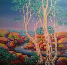 """CREEKSCAPE 1"" by Saadah Kent. Paintings for Sale. Bluethumb - Online Art Gallery Buy Art Online, Fabric Art, Creative Art, Embellishments, Applique, Art Gallery, Quilting, Paintings, Landscape"