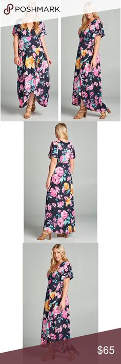 Floral Maxi Dress Super cute floral Maxi dress with ruched plunged neckline and slit short ruffled sleeves. Detailed with wrapping bodice and and tying dash belt. Flattering on all body types. 95% Polyester, 5% Spandex. So soft and comfy. Brand new. Made in the U.S.A. Dresses Maxi
