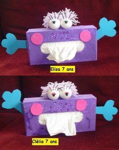 bricolage pour enfant avec boite de kleenex   Boîtes à mouchoirs ! Tissue Box Covers, Tissue Boxes, Tissue Paper, Rainy Day Crafts, Crafts For Kids, Valentine Crafts, Valentines, Felt Crafts, Paper Crafts