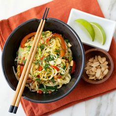 """In this Summer Squash Pad Thai recipe """"spiralized"""" vegetable noodles replace rice noodles, pumping up the vegetables while reducing calories."""