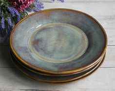 Ceramic Dinnerware Dishes Rustic Earthy Glaze Handmade Set of Four Rustic Stoneware Plates Green and Brown Pottery Dinner Plates