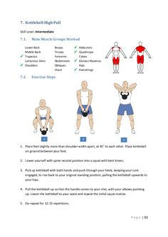 7. Kettlebell High Pull Skill Level: Intermediate  7.1.  Main Muscle Groups Worked  Lower Back Middle Back  Trapezius Lat...