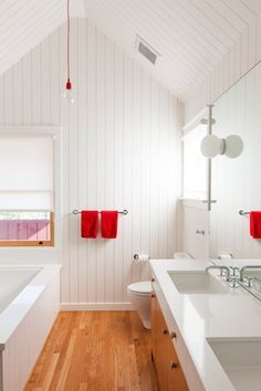 The New Bathroom: 5 Top Trends: White and Wood Hardwood floors (or walls) provide the warmth, but the white is all clean and modern. And what happy bedfellows these two make.