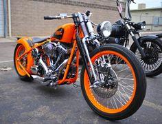 Bright orange Harley Davidson