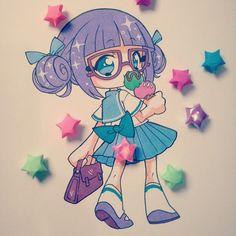Un personaje que invente para probar colores, siempre la punto con diferentes colores ropa y cabello n.n