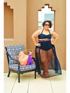 Literally, my favorite summer swim look ever from GarnerStyle's blog. Navy/black is classic, the sheer skirt is amazing, and the thin belt defines and adds color. #plussize #swimsuit -TMC~~The Curvy Girl's Guide to Style: Plus Size Bikini - My Way!