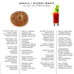EASY ENTERTAINING // BAGELS   BLOODY MARYS- a full guide to setting up a bagel station and bloody mary bar for your next party (holtwoodhipster.blogspot.com)