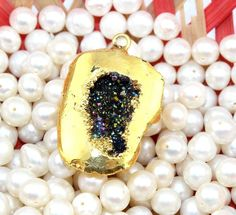 Zj8978 Offer Sale Rainbow Geode Druzy 24k Gold Plated Handmade Connector Jewelry #Handmade #Connector
