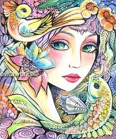 Fairy Art Whimsical Mermaid Art Girl Face Bird by evitaworks, $15.00