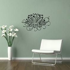 Vinyl Decal Stylish Lotus Flower Yoga Design Home Wall Decor Removable Stylish Sticker Mural 448