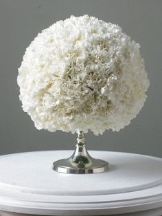 I Love Carnations! Carnation Ball-Hint: DIY and order Carnations in bulk from Warehouse's like BJ's, Costco or Sam's. Soak floral oasis ball for 45 minutes then evenly place 50 full bloom carnations. Carnation Centerpieces, Carnations, Wedding Centerpieces, Wedding Table, Diy Wedding, Wedding Flowers, Dream Wedding, Wedding Decorations, Wedding Ideas