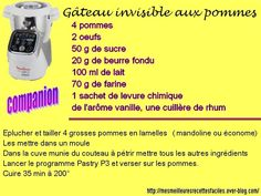 Gâteau invisible aux pommes (au companion ... ou pas) Prep & Cook, Cooking Spaghetti Squash, Cooking Videos, Cooking Blogs, Galette, Food And Drink, Desserts, Creme Dessert, Cake Factory
