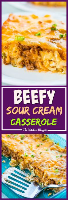 This classic Sour Cream Ground Beef Noodle Casserole is sure to be a hit with the entire family. It's easily adaptable to a lower fat version as well.  #recipe #casserole #beef #sourcream #dinner #supper