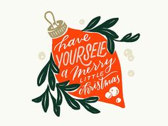Merry Little Christmas mistletoe lettering ornament illustration christmas