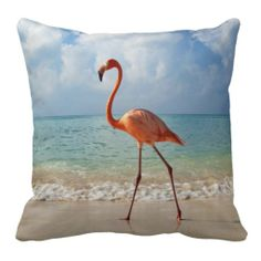 Pink Flamingo And Sandy Beach Beautiful Photo Pillows
